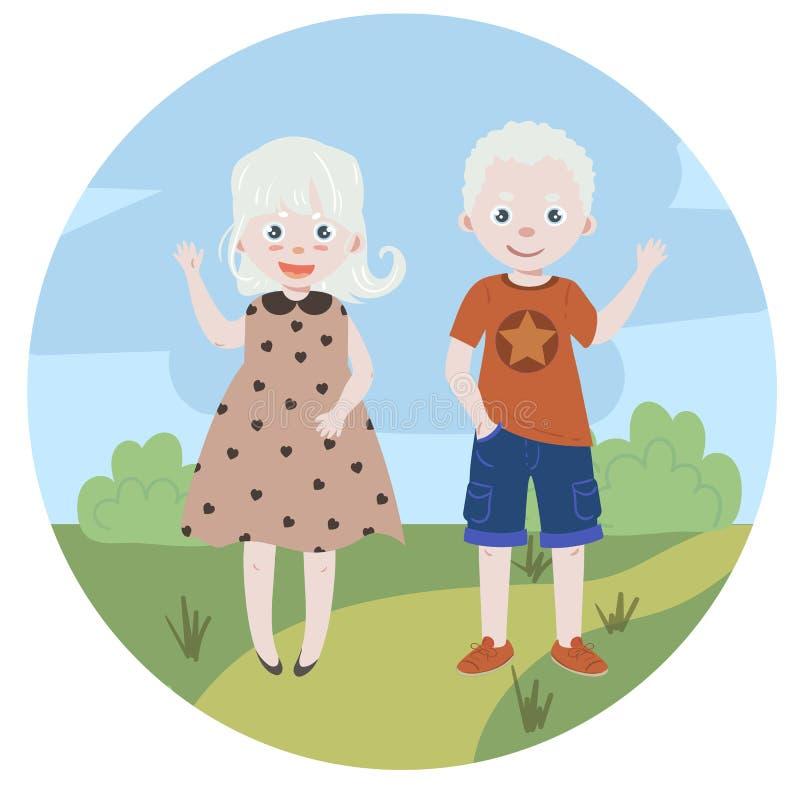 Bambini dell'albino albinismo Ragazzo e ragazza illustrazione di stock