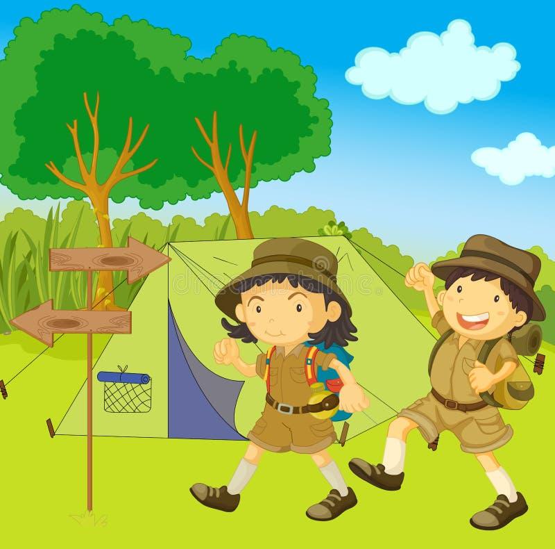Bambini della guida dell'esploratore illustrazione vettoriale
