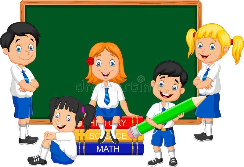 Bambini della scuola del fumetto che studiano nell'aula illustrazione di stock