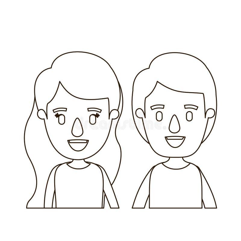 Bambini delle coppie del corpo di vista frontale di caricatura di contorno di schizzo mezzi illustrazione di stock