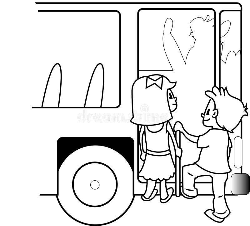 BAMBINI DI CORSA DEL BUS illustrazione di stock