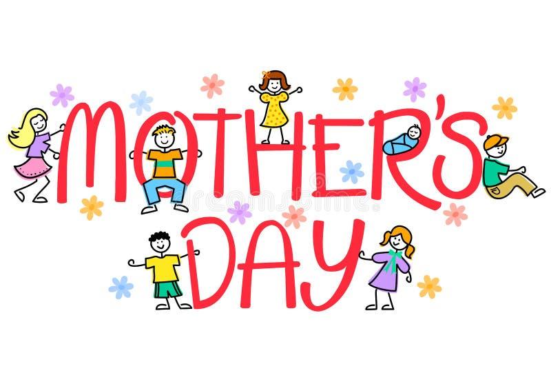 Bambini di giorno della madre illustrazione vettoriale