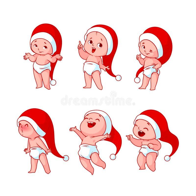 Bambini di Natale con differenti emozioni illustrazione vettoriale