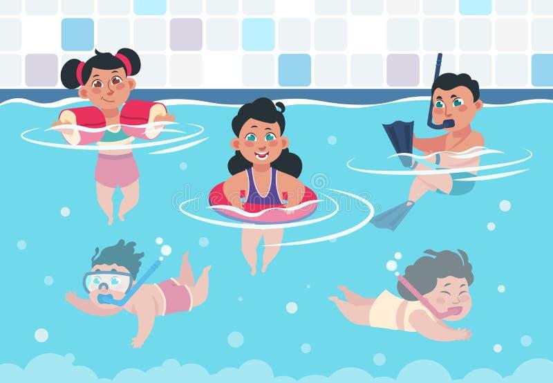 Bambini di nuoto Bambini felici del fumetto in uno stagno, ragazzi piani e ragazze che nuotano e che giocano nello swimwear Estat illustrazione vettoriale