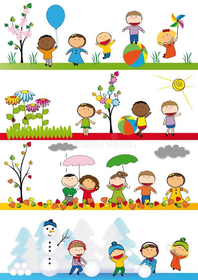Bambini in di quattro stagioni illustrazione vettoriale