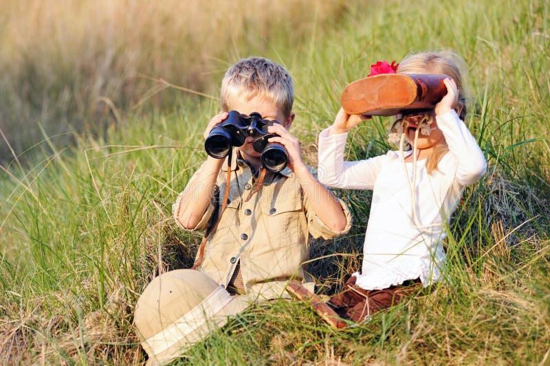 Bambini di safari fotografia stock