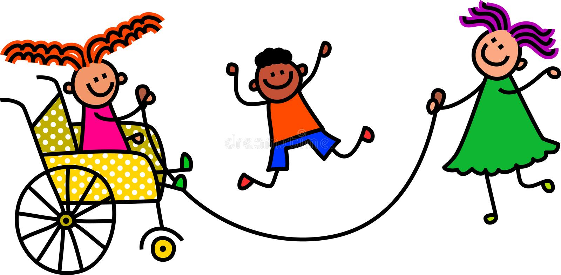 Bambini di salto disabili illustrazione di stock