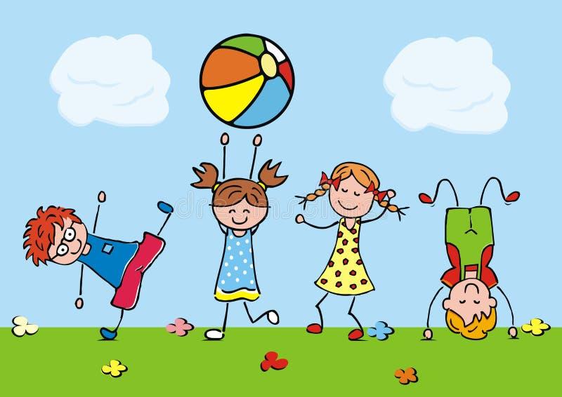 Bambini di salto, illustrazione divertente, icona di vettore royalty illustrazione gratis