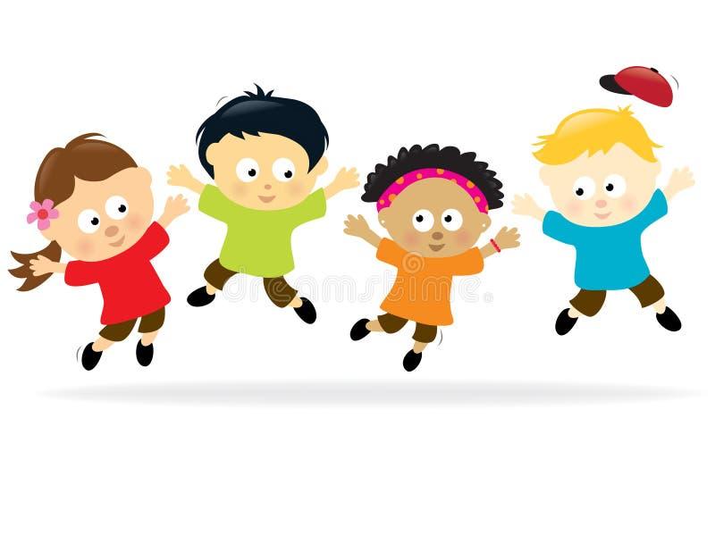 Bambini di salto - multi-ethnic illustrazione vettoriale