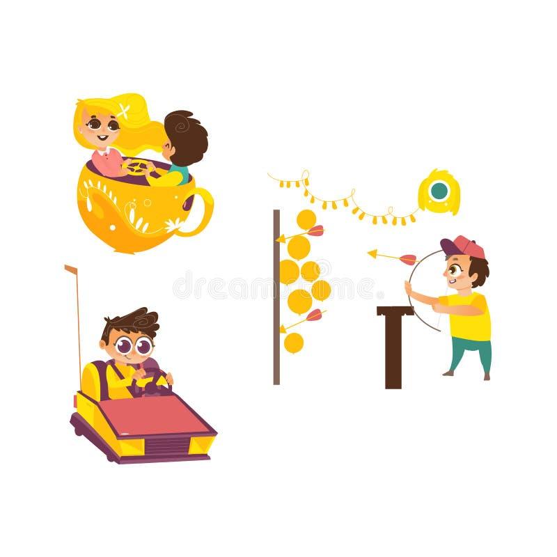 Bambini di vettore nell'insieme del parco di divertimenti royalty illustrazione gratis