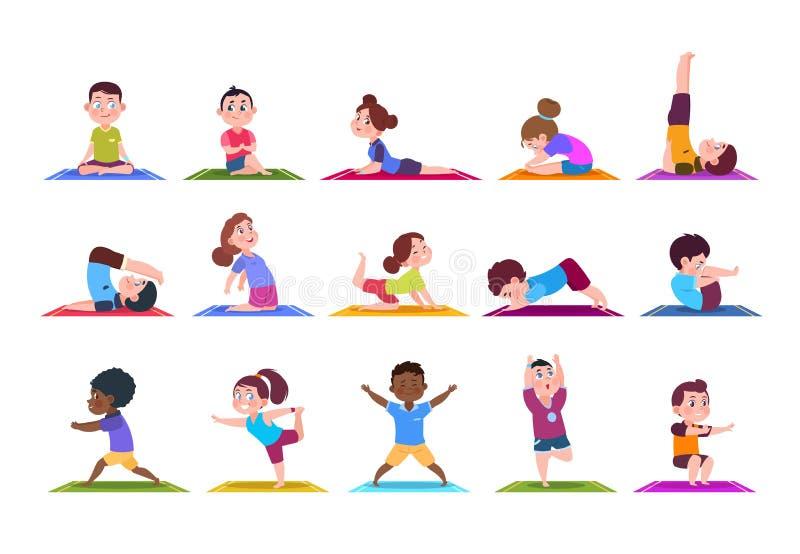 Bambini di yoga Bambini del fumetto che fanno yoga Ragazze e ragazzi di sport in palestra Insieme isolato caratteri di vettore illustrazione di stock