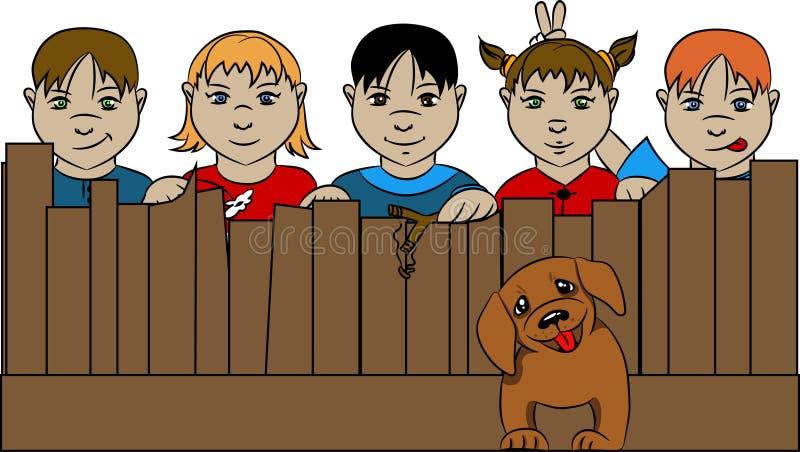 Bambini dietro il recinto con il cane royalty illustrazione gratis