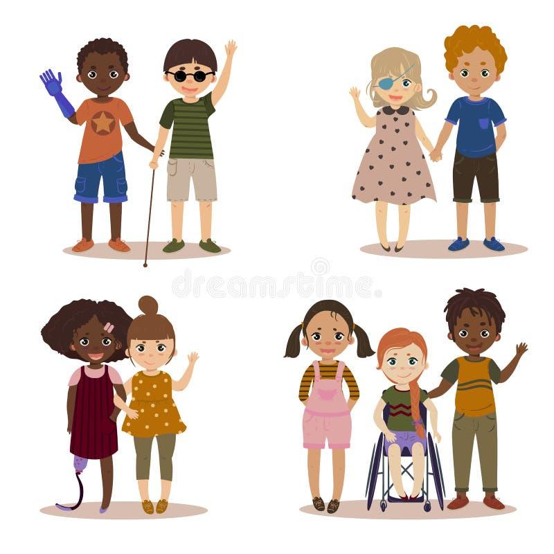 Bambini disabili con gli amici royalty illustrazione gratis