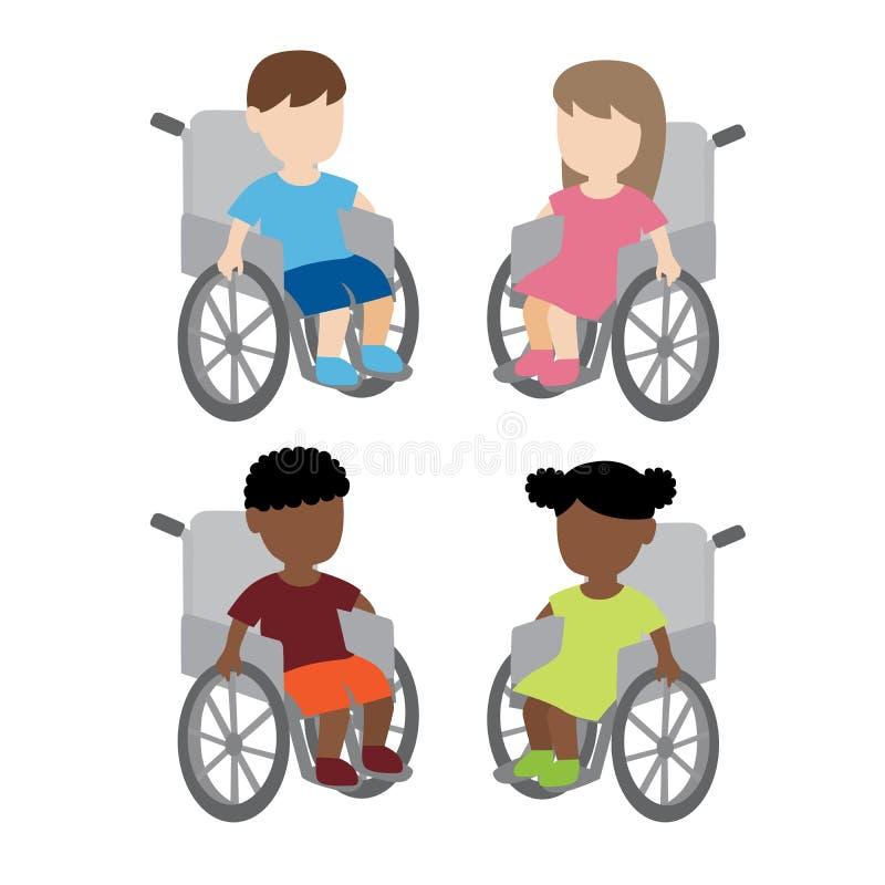 Bambini disabili della sedia a rotelle illustrazione vettoriale