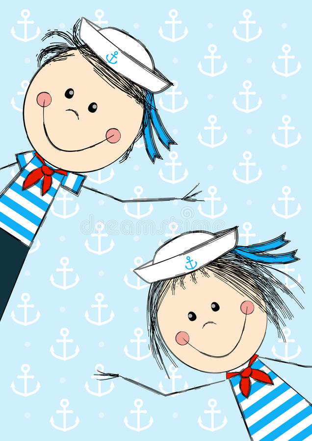 Bambini divertenti del marinaio royalty illustrazione gratis