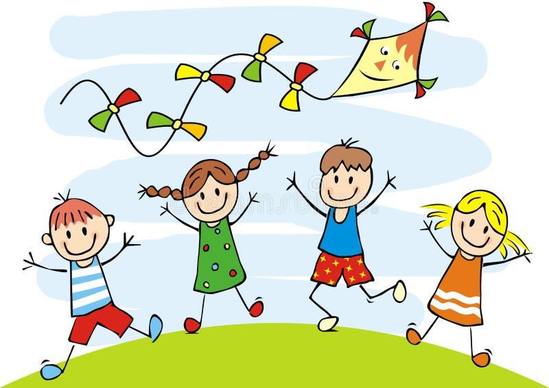 Bambini e aquilone felici, illustrazione divertente, icona di vettore illustrazione di stock