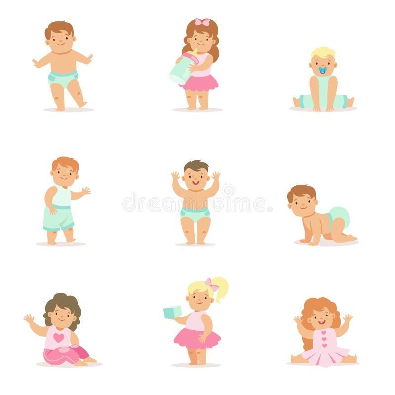 Bambini e bambini sorridenti adorabili in attrezzature blu e rosa illustrazione di stock