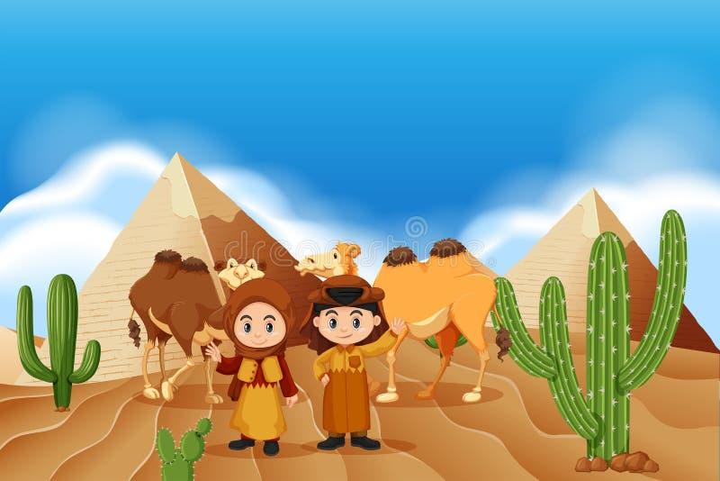 Bambini e cammelli nel deserto illustrazione di stock