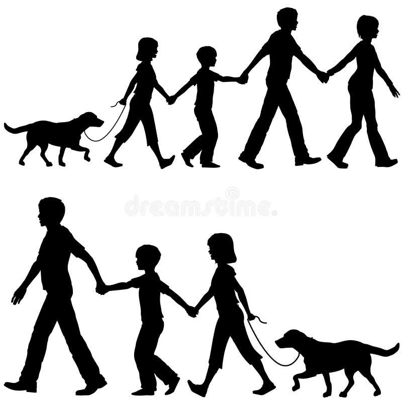 Bambini e cane casuali del cavo del papà della mamma della famiglia sulla camminata illustrazione vettoriale
