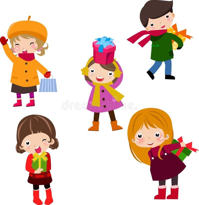 Bambini e contenitore di regalo royalty illustrazione gratis
