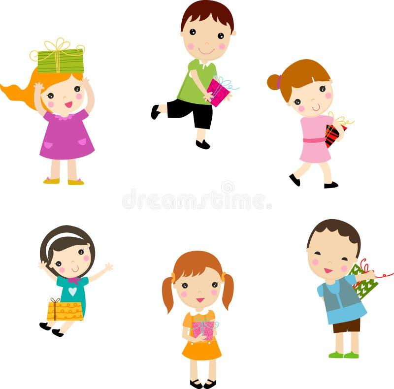 Bambini e contenitore di regalo illustrazione vettoriale