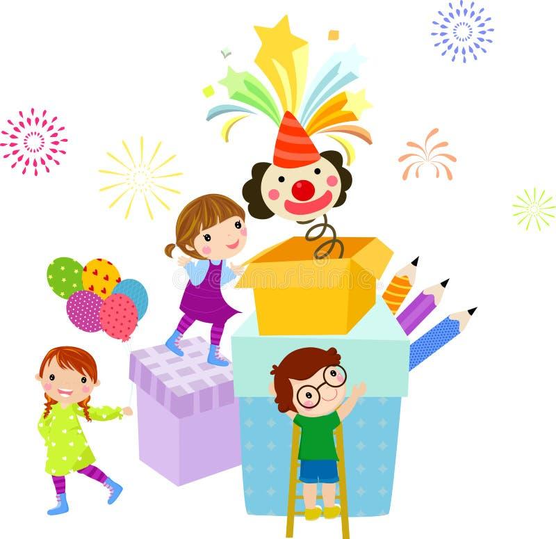 Bambini e contenitore di regalo illustrazione di stock