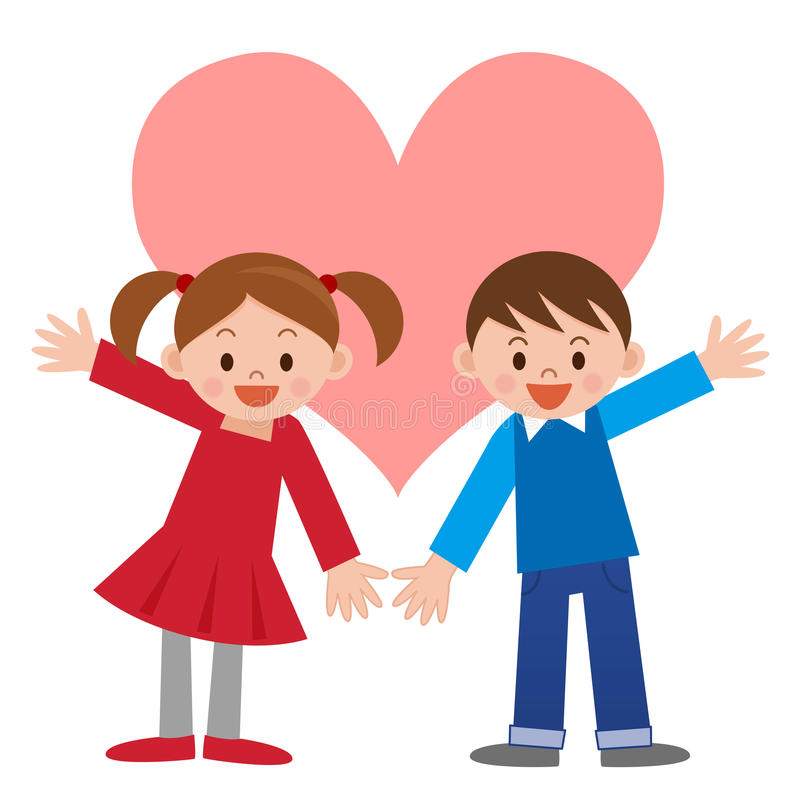 Bambini e cuore royalty illustrazione gratis