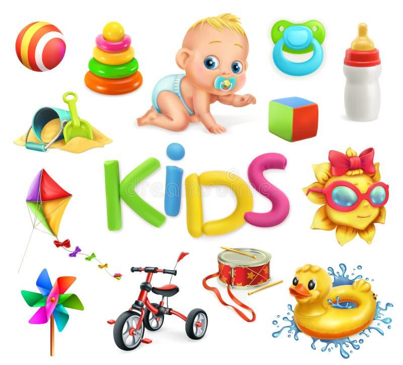 Bambini e giocattoli Campo da giuoco dei bambini, icone di vettore messe illustrazione vettoriale
