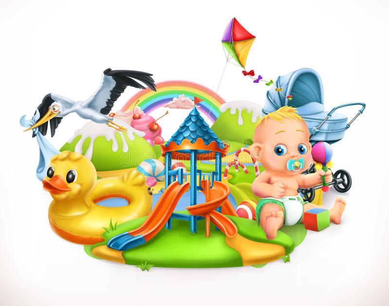 Bambini e giocattoli Illustrazione di vettore del campo da giuoco dei bambini illustrazione di stock