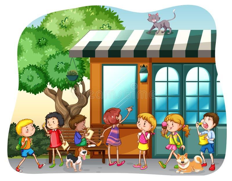 Bambini e negozio illustrazione di stock