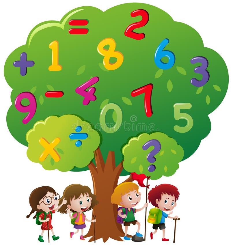 Bambini e numeri sull'albero royalty illustrazione gratis