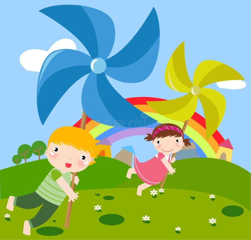 Bambini e pinwheel illustrazione di stock