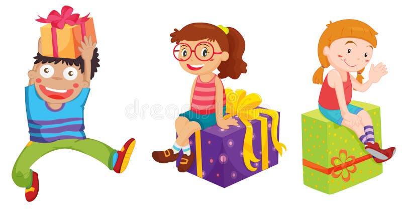Bambini e presente illustrazione vettoriale