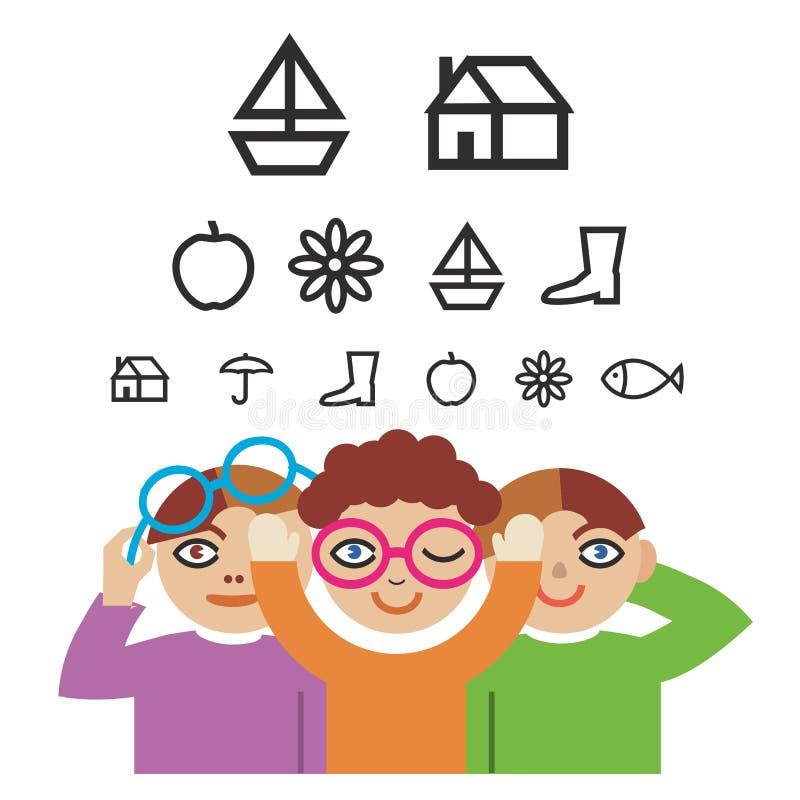 Bambini e prova di optometria royalty illustrazione gratis