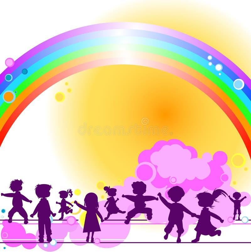 Bambini e Rainbow royalty illustrazione gratis