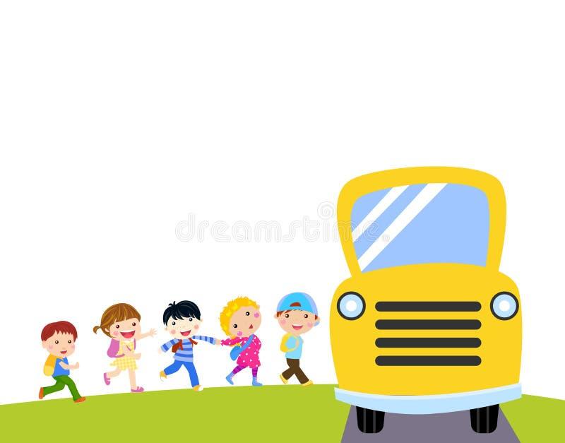 Bambini e scuolabus illustrazione vettoriale