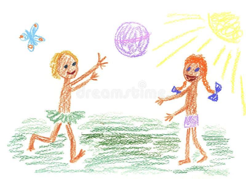 Bambini e sfera royalty illustrazione gratis
