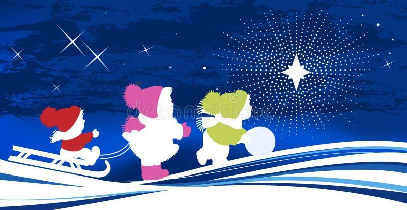 Bambini e stella di natale. illustrazione vettoriale