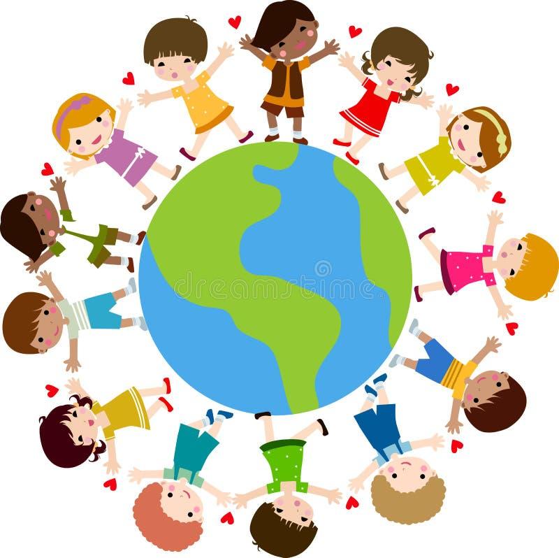 Bambini e terra felici immagine stock