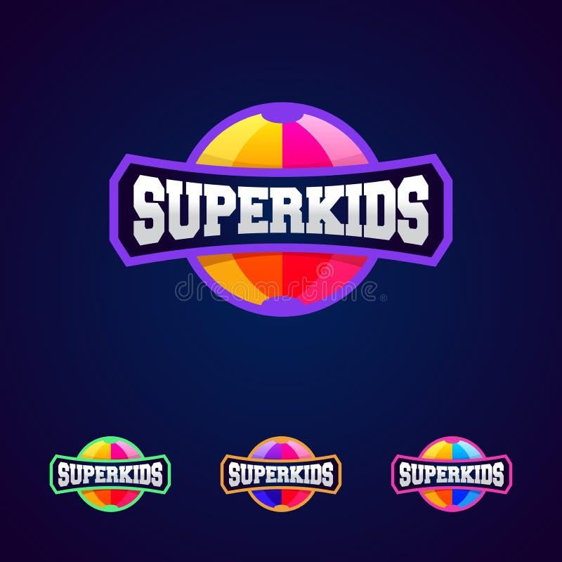 Bambini eccellenti, tipografia completa di potere dell'eroe eccellente, grafici della maglietta Logo di stile di sport royalty illustrazione gratis