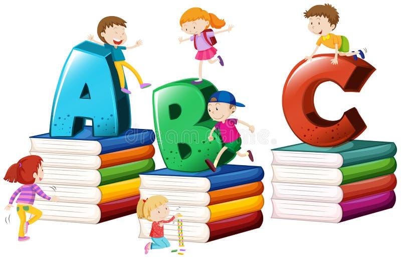 Bambini ed alfabeti inglesi illustrazione vettoriale