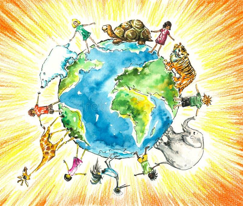 Bambini ed animali. illustrazione vettoriale
