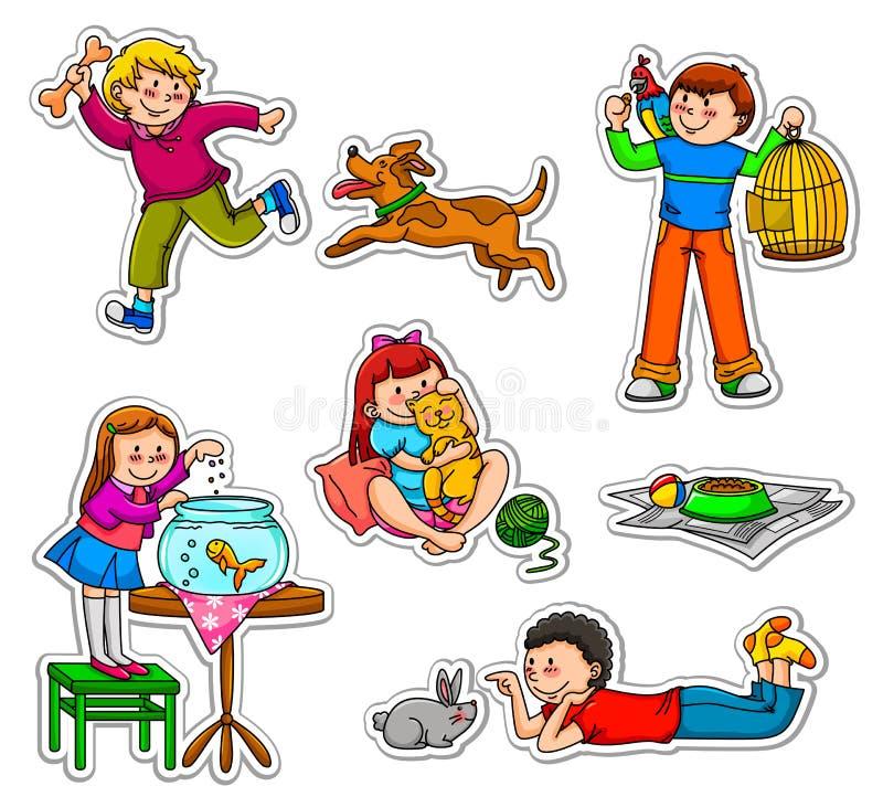 Bambini ed animali domestici illustrazione vettoriale