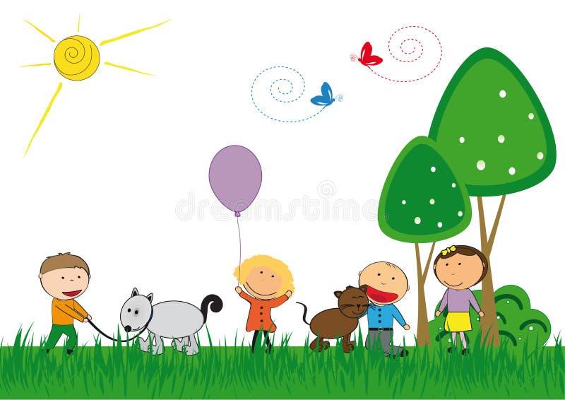 Bambini ed animali domestici royalty illustrazione gratis