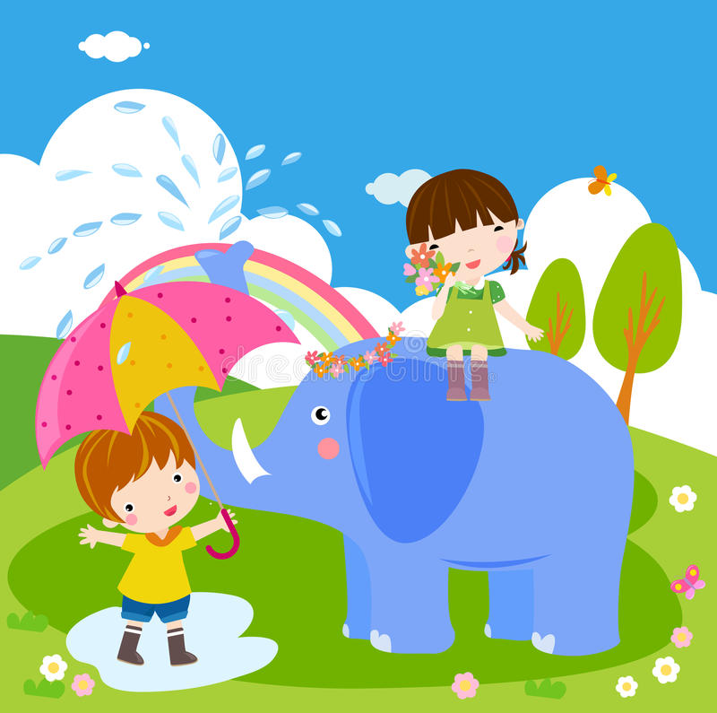 Bambini ed elefante illustrazione vettoriale
