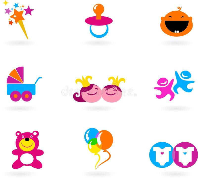 Bambini ed icone e marchi del bambino illustrazione vettoriale