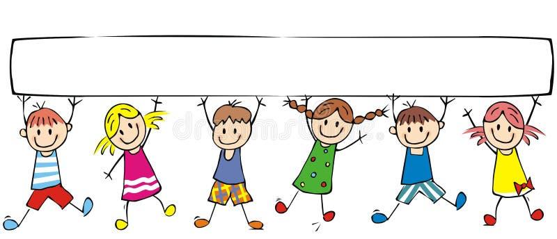 Bambini ed insegna felici, gruppo di bambini allegri illustrazione di stock