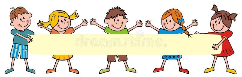 Bambini ed insegna felici, illustrazione di vettore illustrazione vettoriale
