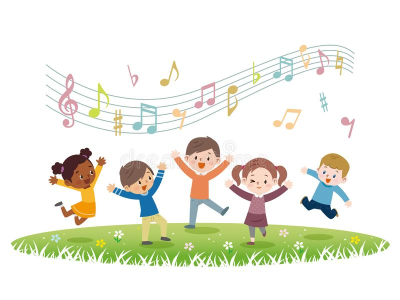Bambini energetici da saltare royalty illustrazione gratis