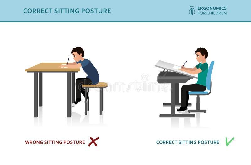 Bambini ergonomici Posa sbagliata e corretta di seduta royalty illustrazione gratis